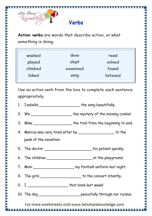 Worksheets On Verbs Free Worksheets Library