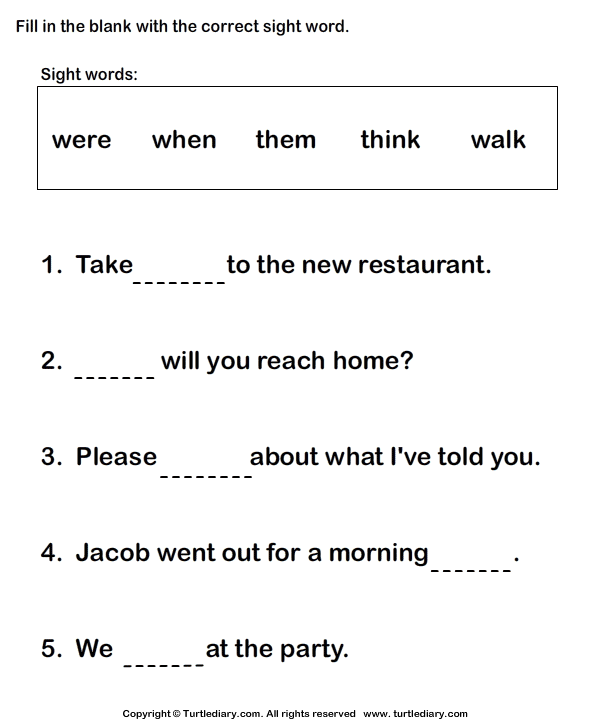 Writing Sight Words In Sentences Worksheet