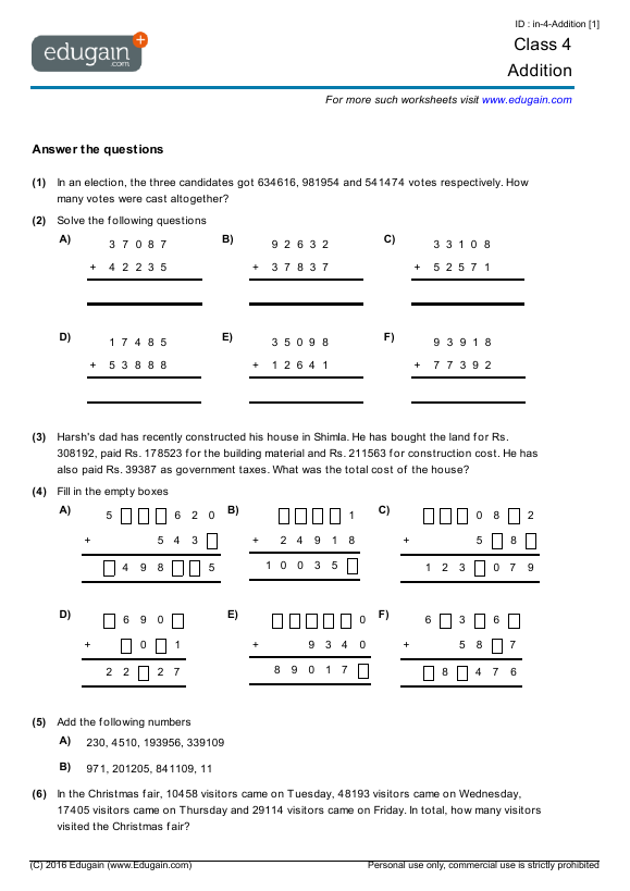Year 4 Math Worksheets And Problems  Addition