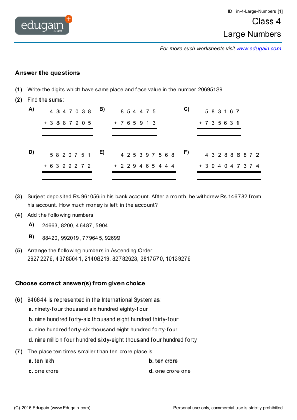 Year 4 Math Worksheets And Problems  Large Numbers