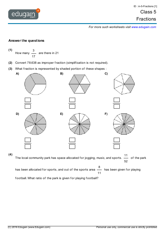 Year 5 Math Worksheets And Problems  Fractions