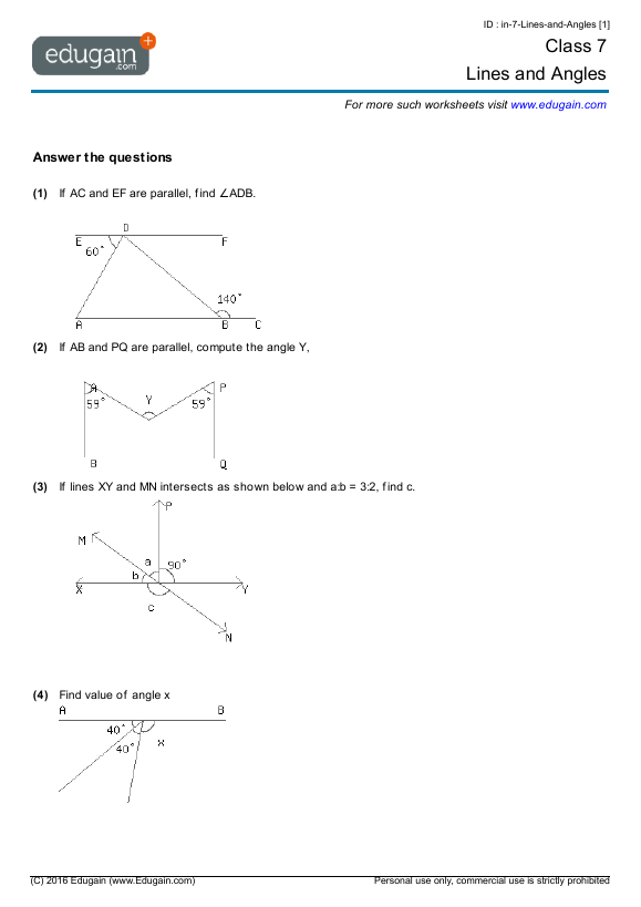 Year 7 Math Worksheets And Problems  Lines And Angles