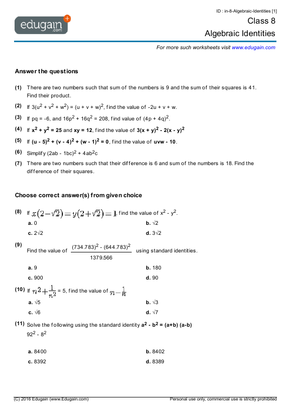 Year 8 Math Worksheets And Problems  Algebraic Identities