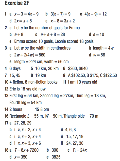Year 9 Answers For Worded Algebra Pg 97 & 98