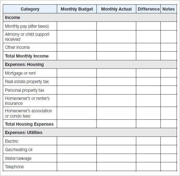 10 Household Budget Templates Free