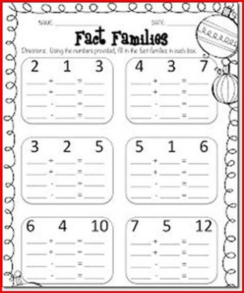 1st Grade Fact Family Worksheets