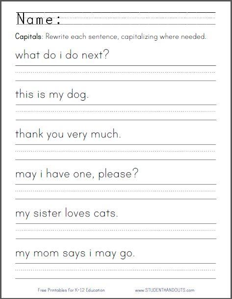 1st Grade Sentence Writing Worksheets Worksheets For All