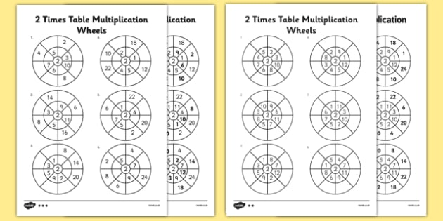 2 Times Table Wheels Worksheet   Activity Sheet Pack