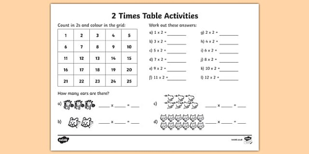 2 Times Table Worksheet   Activity Sheet