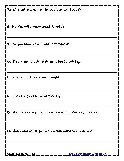 2nd Grade Capitalization Worksheets Worksheets For All