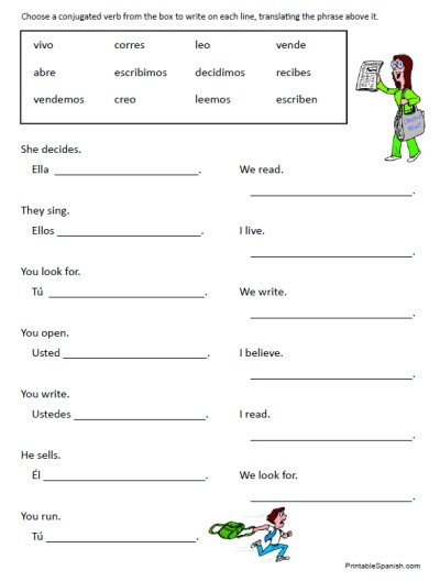30 Page Worksheet Packet On Spanish Regular (introductory) Verbs