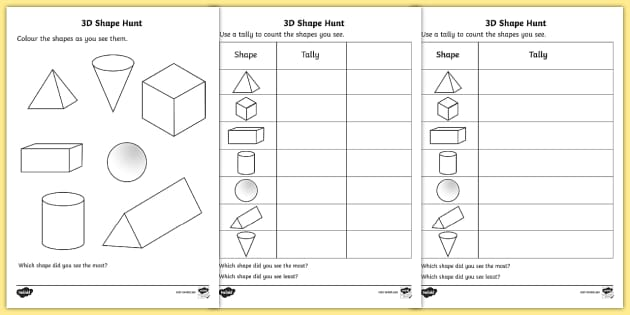 3d Shape Hunt Worksheet   Activity Sheet