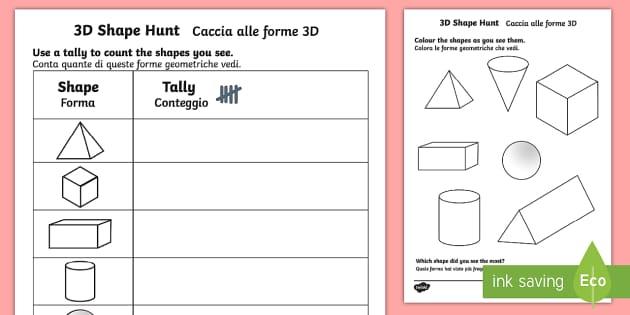 3d Shape Hunt Worksheet   Activity Sheet English Italian