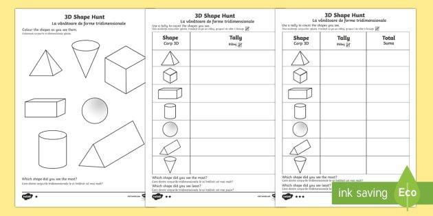 3d Shape Hunt Worksheet   Activity Sheet English Romanian