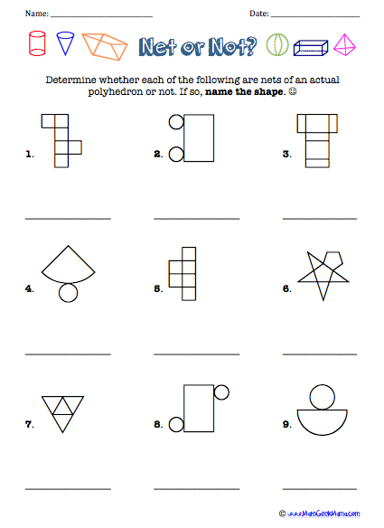 3d Shapes And Nets Worksheets