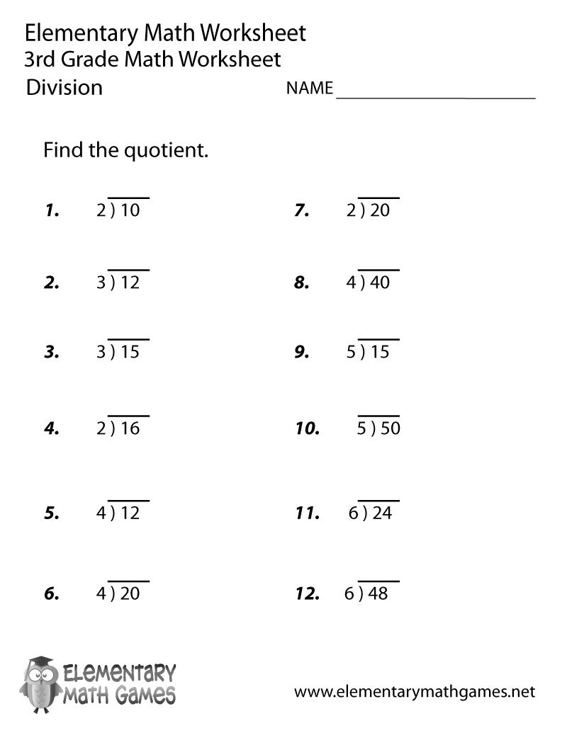3rd Grade Math Division Worksheets Printable Easy Division