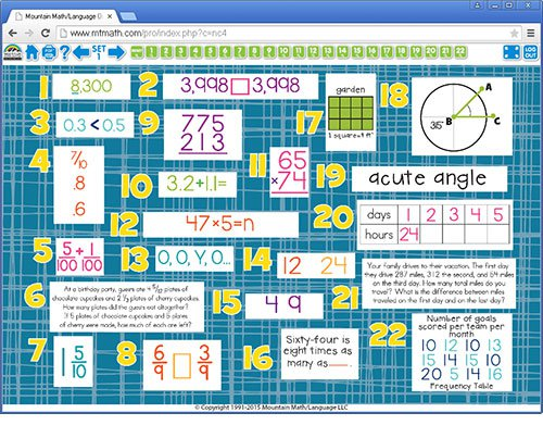 4th Grade Math Spiral Review For Interactive Whiteboard