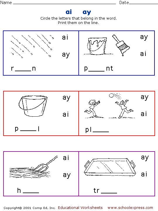 52 Best Vowel Digraphs Ai, Ay Images On Free Worksheets Samples