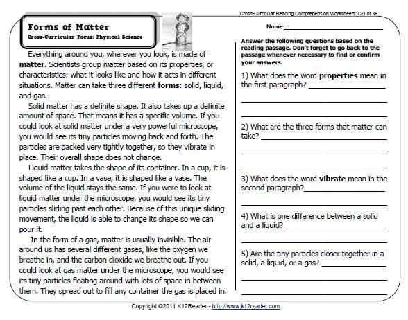 5th Grade Reading Worksheets With Questions Worksheets For All