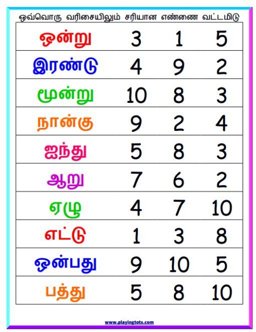 68 Best Free Printable To Teach Tamil To Kids Images On Free Worksheets Samples