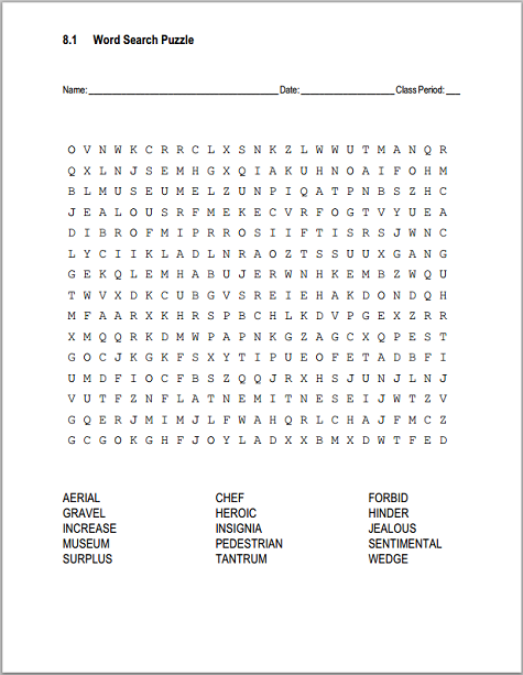 8 1 Vocabulary Terms Word Search Puzzle