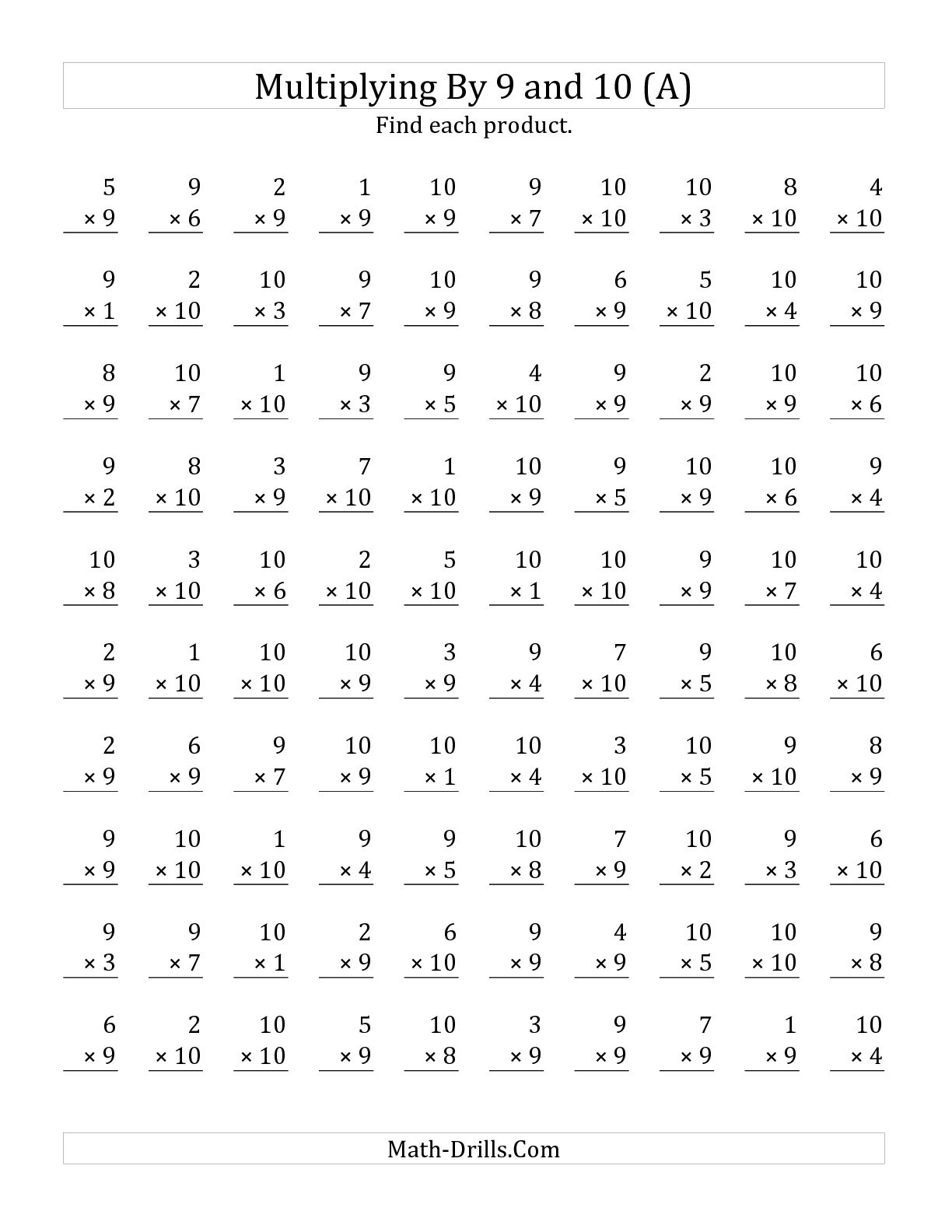 9 Times Table Multiplication 9s Trick Worksheet Be ~ Koogra