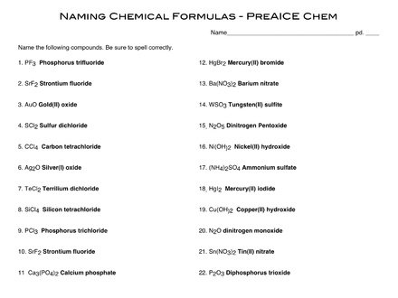 A Binary Ionic Molecular Compounds Worksheet Worksheets For All