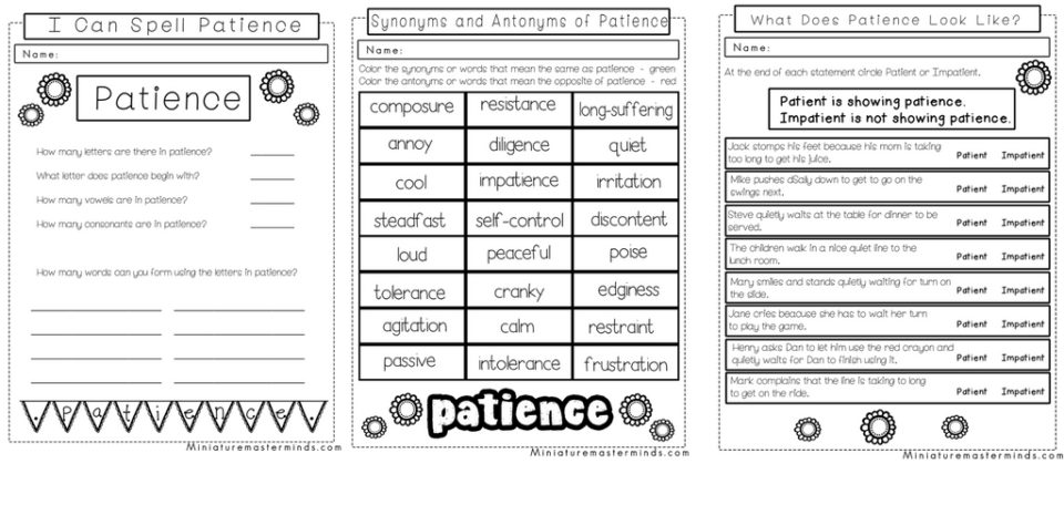 A Study In Patience No Prep Worksheet And Activity Pack