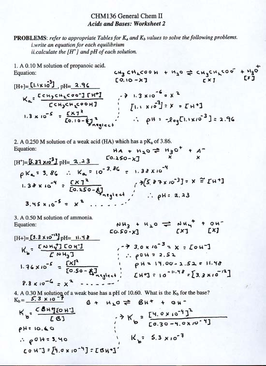 Acid And Bases Worksheet Answer Key Worksheets For All