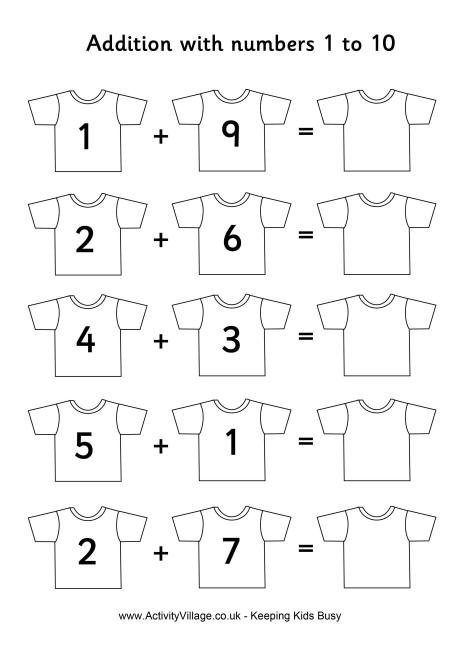 Addition » Addition Worksheets Numbers 1