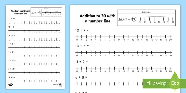 Addition To 20 With A Number Line Worksheet   Activity Sheet