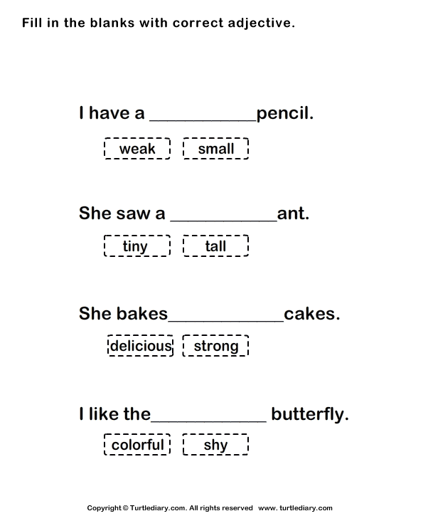 Adjectives Fill In The Blanks Worksheet