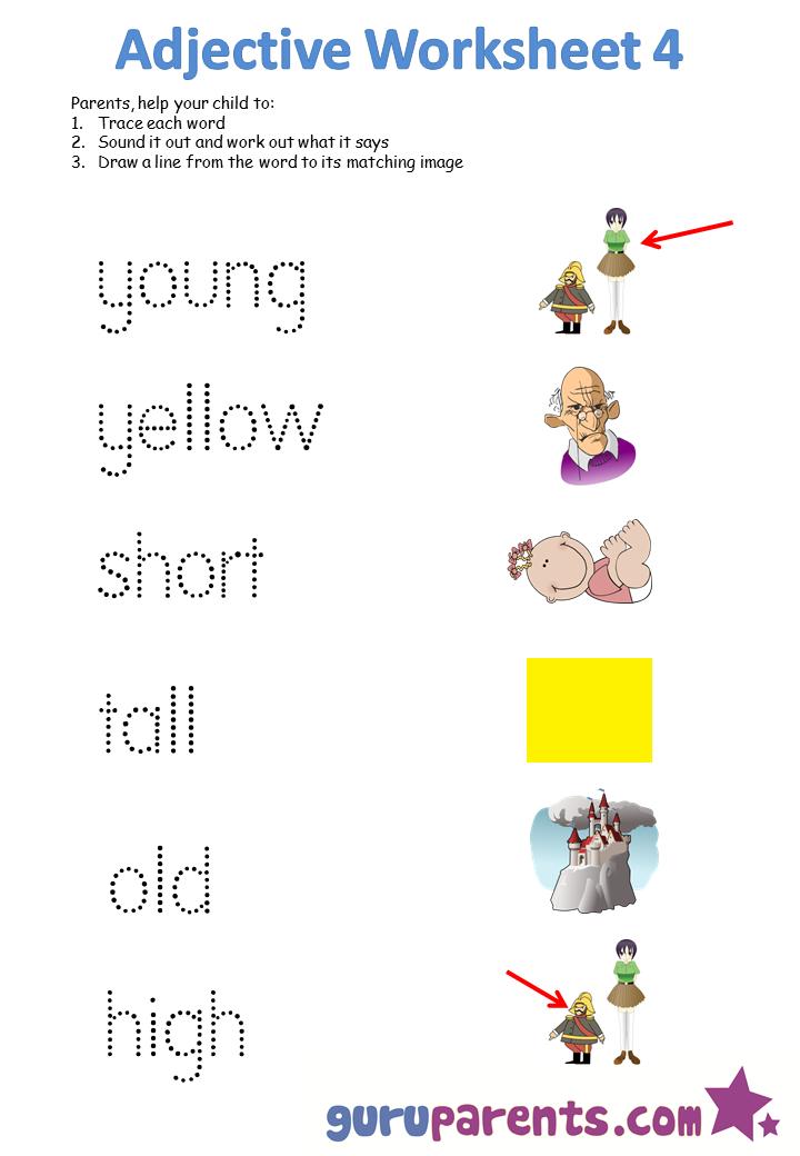 Adjectives Worksheets For Kindergarten