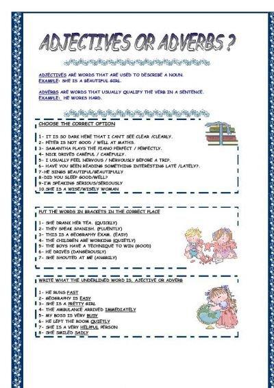Adverb Adjective Worksheet Worksheets For All
