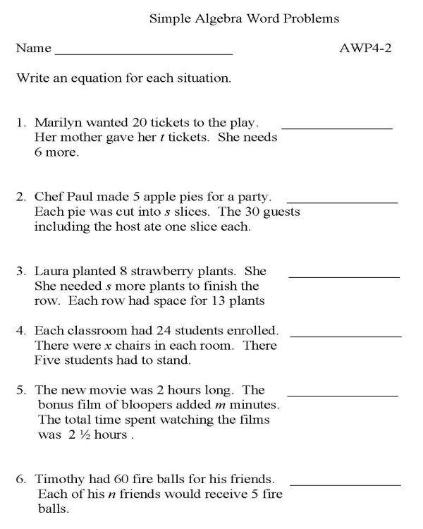 Algebra 2 Word Problems Worksheets