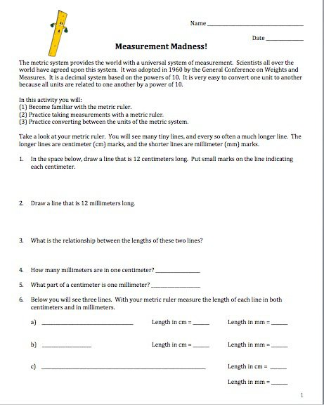 Amy Brown Science  Measurement Madness! (reinforcement For Metric
