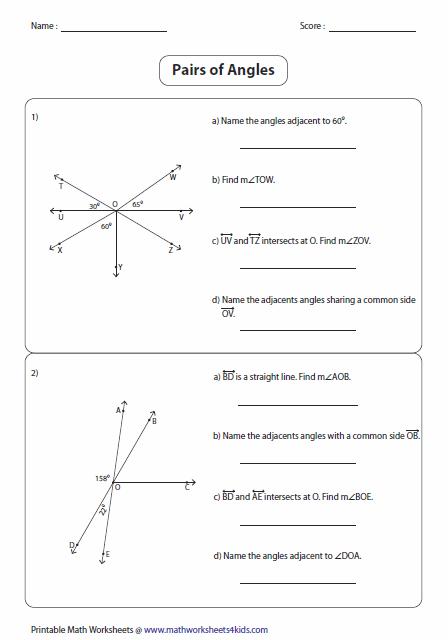 Angle Pair Relationships Worksheet 1 5