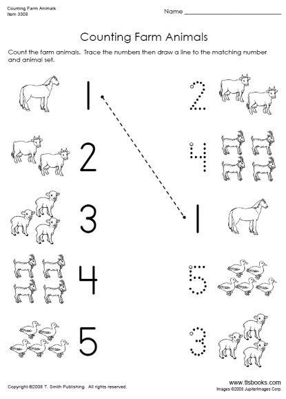 Animal Worksheets For Preschoolers Countingfarmanimalslarge