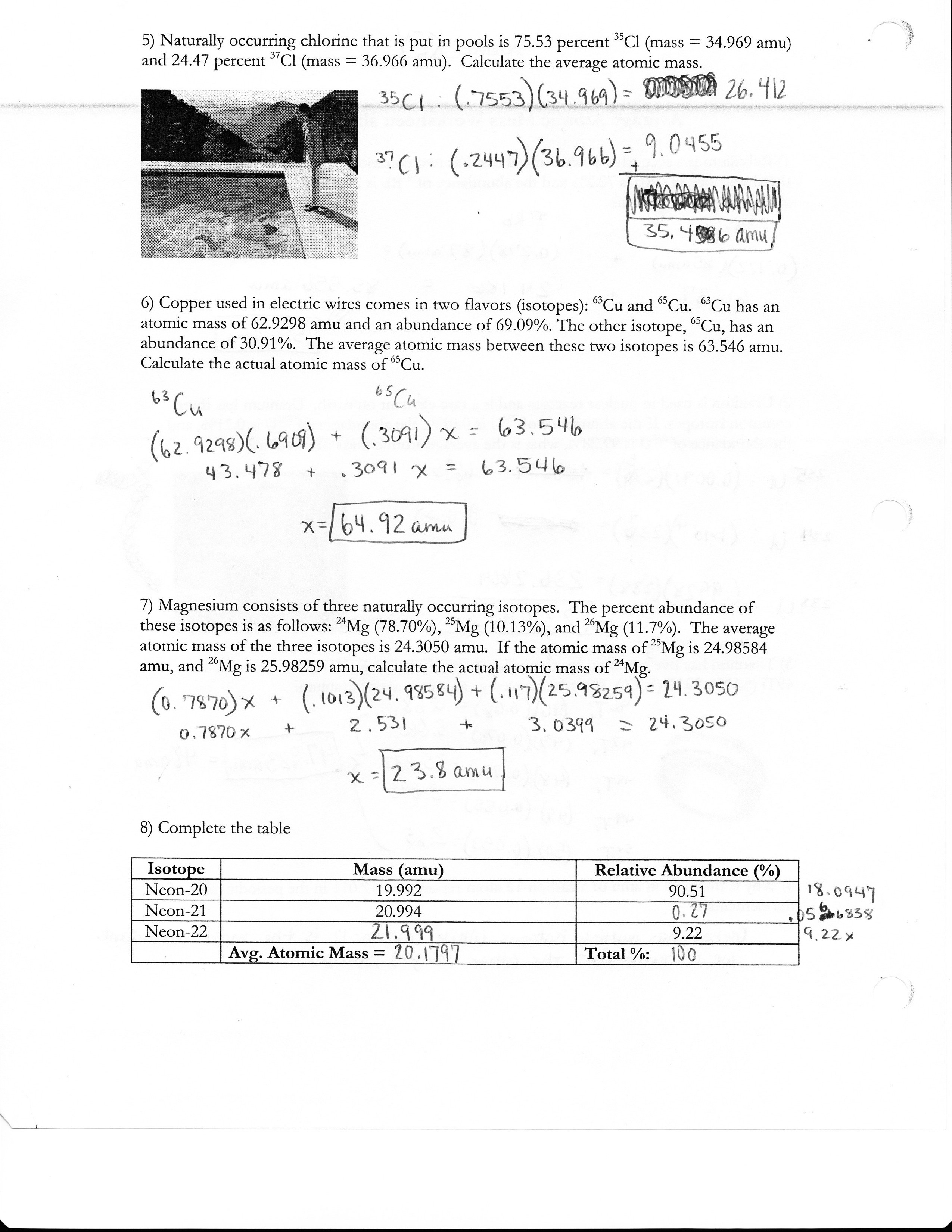 Answers To Side 1 Of Atomic Mass Worksheet Answers To Side, Atomic