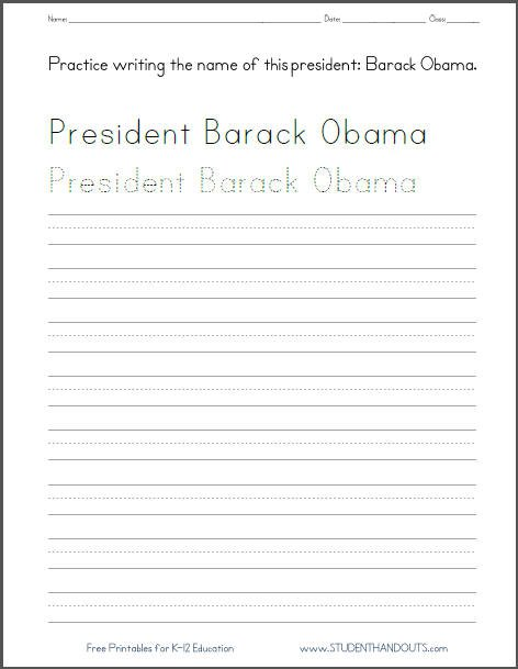 Barack Obama Handwriting Worksheets