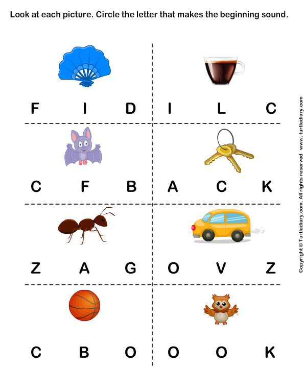 Beginning Sounds F C B K A V And O Worksheet