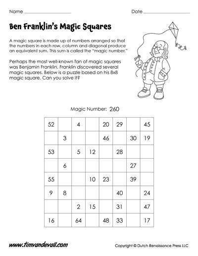 Benjamin Franklin Magic Square Worksheet