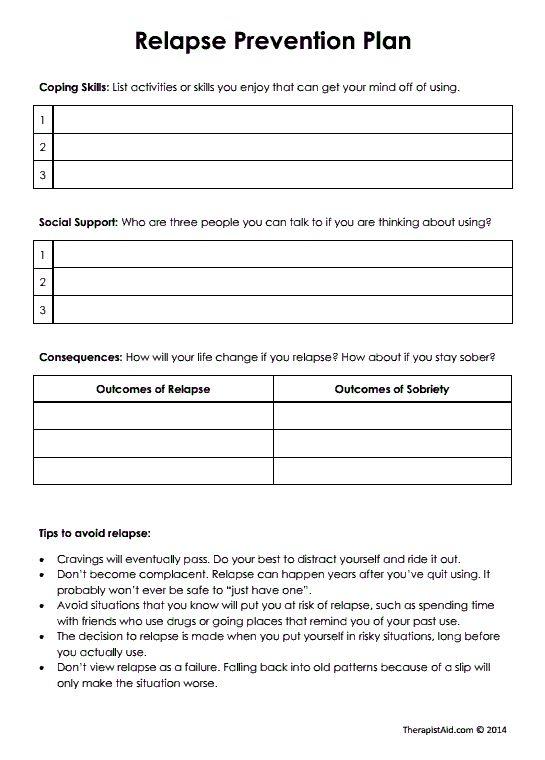 Best 25+ Relapse Prevention Ideas On Free Worksheets Samples