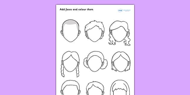 Blank Faces Worksheet