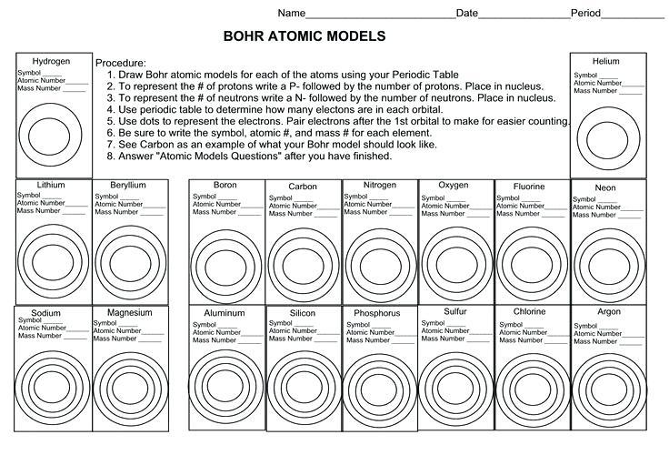 Bohr Atomic Models Worksheet Answers And Atom Worksheet Stunning