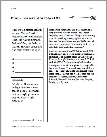 Brain Teasers Puzzle Worksheet  1