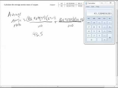 Calculating Average Atomic Mass Worksheet Q1