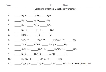 Chemical Equations To Balance Worksheet