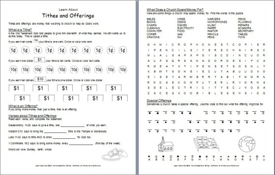 Childrens Bible Activity Sheets