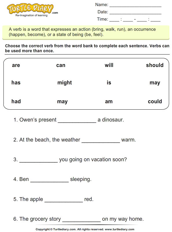 Choose The Correct Verb Is Am Are Worksheet